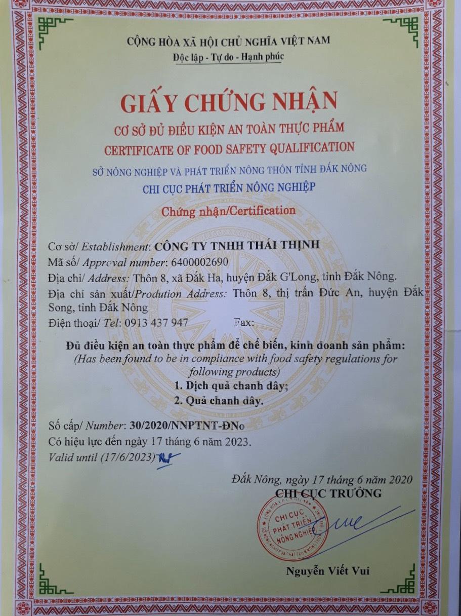 chứng nhận chanh dây thaithinhfood.vn